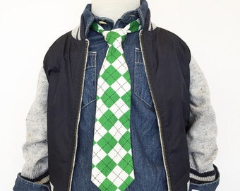 Green Argyle Necktie | Boys