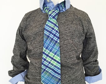 Blue and Green Plaid Necktie