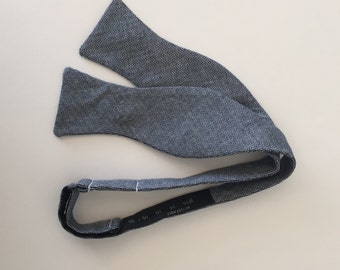 Men and Teen's Blue Chambray Herringbone Bow Tie