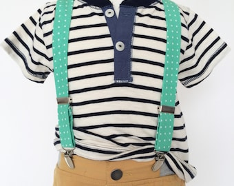 Spearmint Mint Polka Dot Suspenders