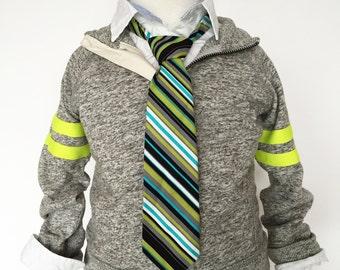 Black, Grey, Green Stripe Necktie