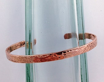 Hammered Copper Cuff Bracelet - Solid Copper - Rustic Minimalist Cuff - 5-6mm Width - Personalized - Custom Sized - Textured