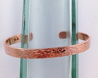 Hammered Copper Cuff Bracelet - Solid Copper - Rustic Men's Women's Cuff - 7-8mm Width - Personalized - Custom Sized - Textured