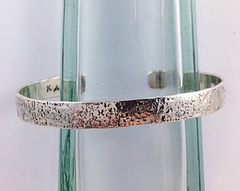Hammered Silver Cuff Bracelet - Solid Sterling Silver - Rustic Men's Women's Cuff - 7-8mm Width - Personalized - Custom Sized - Textured