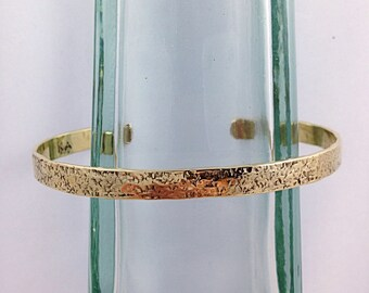 """Jeweler's Brass Cuff Bracelet - Hammered """"Textile"""" Textured - Rustic - Hammer Wrought - Custom Sized"""