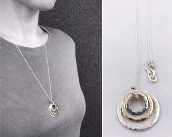 Two Tone Triple Circle Necklace - Solid Sterling Silver/Solid 14k Gold - Rustic - Three Hammer Formed Circles - Nesting Circles