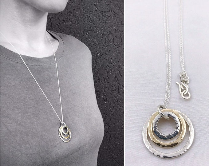 Silver And Gold Triple Circle Necklace - Solid Sterling Silver - Solid 14k Gold - Three Rustic Hammer Formed Circles - Nesting Circles