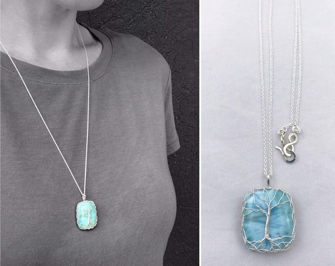 """Tree of Life Necklace - Solid Sterling Silver - Genuine Rectangle Cut Dominican Larimar - """"Heart Of The Island"""""""