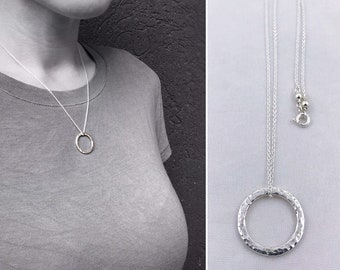 Sterling Silver Free Floating Circle Necklace - Rustic Minimalist - Hammer Formed Small Textured Circle - Choose Your Chain Color