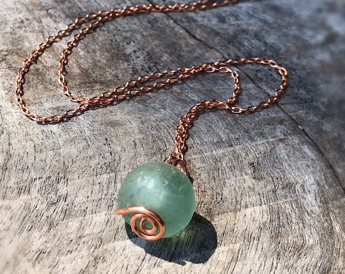 Green Trade Glass Copper Spiral Pendant Necklace - Recycled Glass - Solid Copper - Spiral Design - African Trade Glass Bead