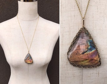 Labradorite Statement Necklace - 14k Yellow Gold Filled - Large Genuine Freeform Labradorite - Exceptional Color and Flash - Long Chain