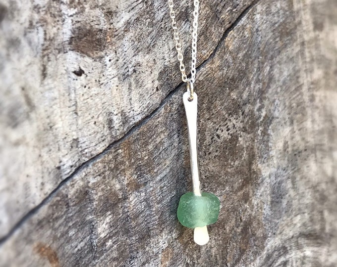 Sterling Silver Green Trade Glass Bar Necklace - Recycled Glass - Solid Sterling Silver - Vertical Bar - Y Necklace - Rustic Minimalist