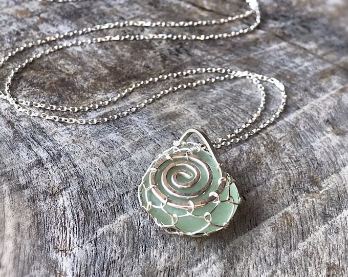 Green Sea Glass Spiral Necklace - Solid Sterling Silver - Genuine Sea Glass - Hammered Double Spiral Design