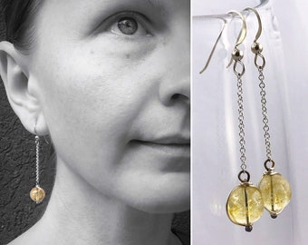 """Sterling Citrine Crystal Orb Earrings - Solid Sterling Silver - Round Translucent Citrine Crystals - Long Dangle Earrings - """"Sunlight Orbs"""""""