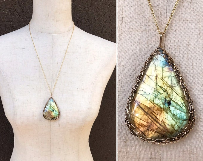 Labradorite Statement Necklace - 14k Yellow Gold Filled - Large Genuine Teardrop Labradorite - Exceptional Color and Flash - Long Chain