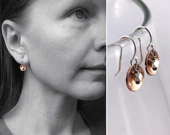 Dainty Hammered Copper Concave Disk Earrings - Two Tone Mixed Metal - Sterling Silver Fine Silver Raw Copper - Minimalist Lightweight