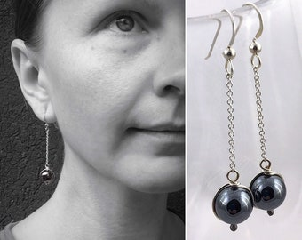 """Hematite Stone Orb Earrings - Solid Sterling Silver - Round Smooth Reflective Hematite Orbs - Long Dangle Earrings - """"Mirror Orbs"""""""