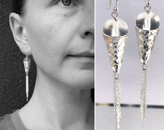 Hammered Silver Long Statement Tassel Earrings - Sterling Silver / Fine Silver / Quartz Crystal - Sparkling Textured Dangle Earrings