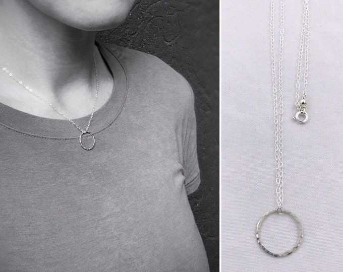 Small Silver Free Floating Circle Necklace - Solid Sterling Silver - Hammer Formed - Subtle Hammered Texture - Rustic - Minimalist