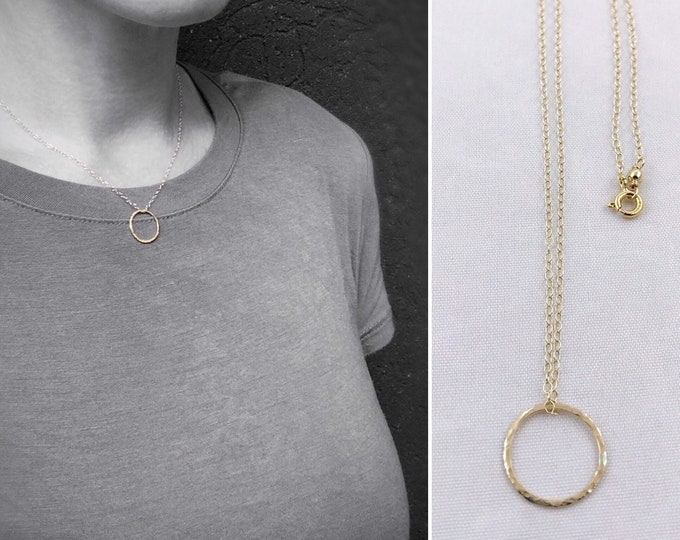 Small Gold Free Floating Circle Necklace - 14k Yellow Gold Filled - Hammer Formed - Subtle Hammered Texture - Rustic - Minimalist