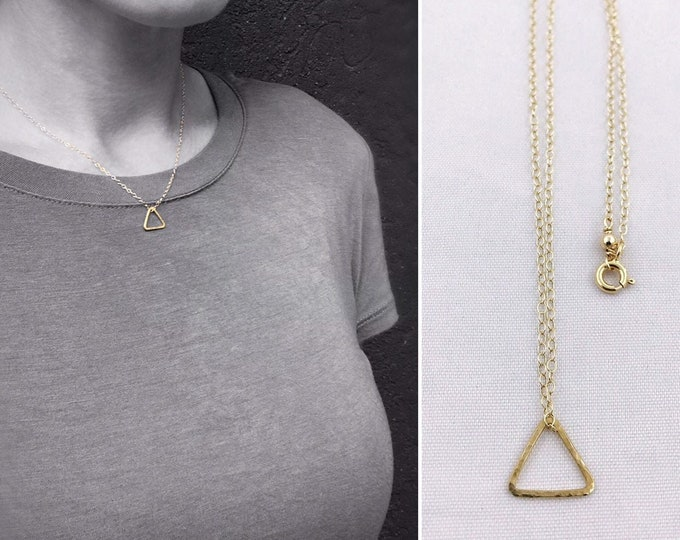 Small Gold Free Floating Triangle Necklace - 14k Yellow Gold Filled - Hammer Formed - Subtle Hammered Texture - Rustic - Minimalist