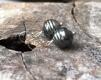 Tahitian Pearl Drop Earrings - Solid Sterling Silver - Genuine Baroque Tahitian Pearls - Blue/Grey/Brown Saltwater Pearls