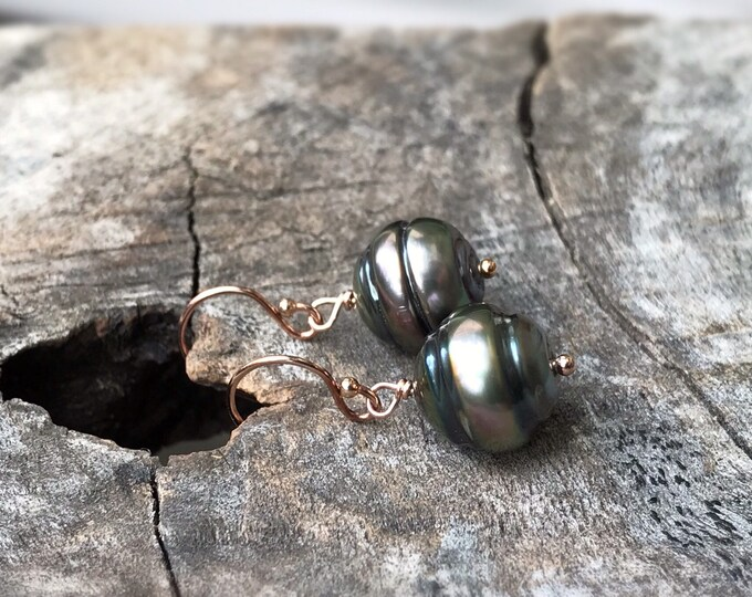 Tahitian Pearl Drop Earrings - 14k Rose Gold Filled - Genuine Baroque Tahitian Pearls - Bronze/Pink/Gold Saltwater Pearls