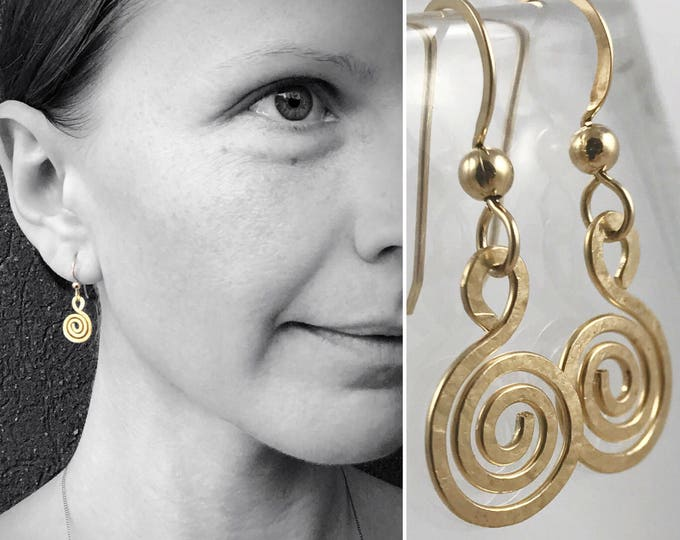 Gold Filled Spiral Earrings - 14k Yellow Gold Filled - Koru Spiral -  Hammer Formed - Subtle Hammered Texture