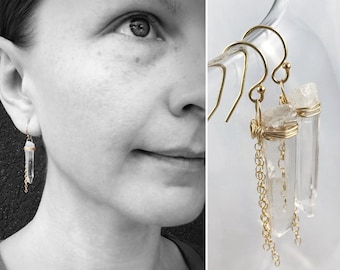 Quartz Crystal Tassel Earrings - 14k Yellow Gold Filled - Polished Quartz Crystal Points - Chain Tassels - Long Dangle Earrings