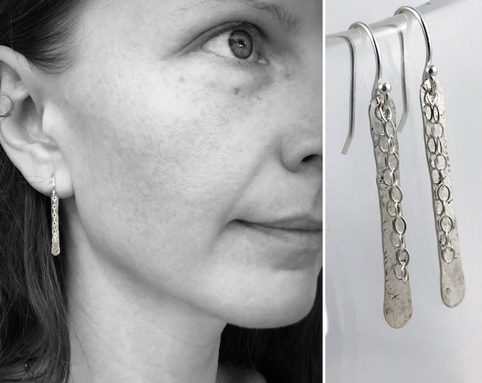 Sterling Silver Shimmer Earrings - Simple Minimalist Bar Earrings - Hammer Formed - Subtle Hammered Texture