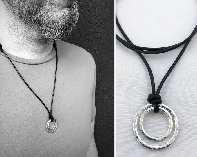 Men's Sterling Silver Double Circle Necklace - Rustic - Hammer Formed Textured Concentric Circles - Adjustable Leather Cord