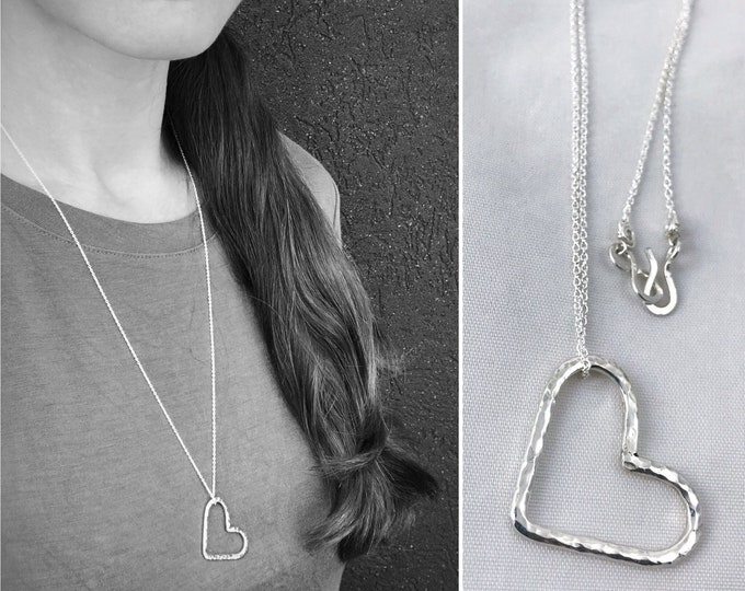 Sterling Silver Free Floating Heart Necklace - Rustic Minimalist - Hammer Formed Textured Heart - Long Chain - Choose Your Chain Color