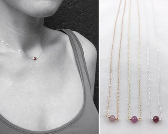 Tiny July Birthstone Necklace - Genuine Faceted Pink Ruby - Sterling Silver / 14k Yellow Gold Fill / 14k Rose Gold Fill - Minimalist