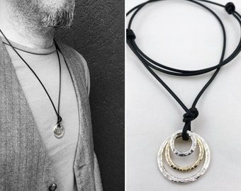 Men's Two Tone Triple Circle Necklace - Solid Sterling Silver/Solid 14k Gold - Rustic - Three Hammer Formed Circles -Adjustable Leather Cord