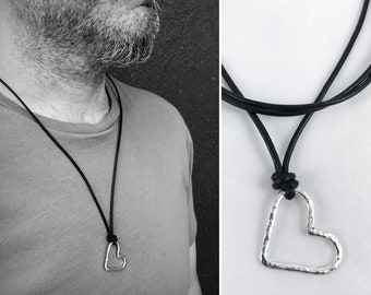 Men's Sterling Silver Heart Necklace - Rustic - Hammer Formed Textured Heart - Adjustable Leather Cord