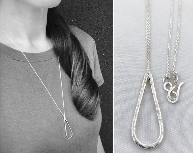 Sterling Silver Free Floating Drop Necklace - Rustic Minimalist - Hammer Formed Textured Drop - Long Chain - Choose Your Chain Color
