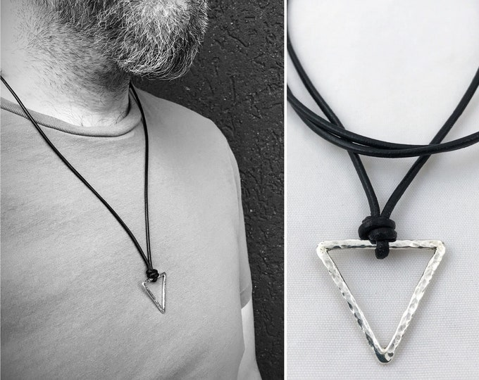 Men's Sterling Silver Triangle Necklace - Rustic - Hammer Formed Textured Triangle - Adjustable Leather Cord