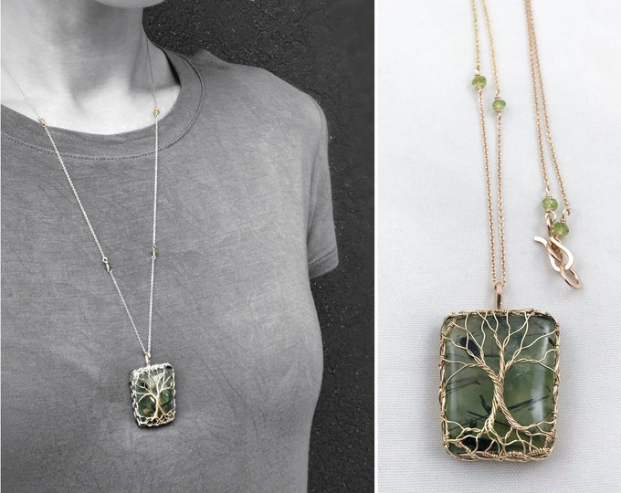 """Double Tree Of Life Pendant Necklace - Two Tone 14k Yellow Gold Filled/14k Rose Gold Filled - Green Prehnite - Faceted Peridot - """"Entwined"""""""