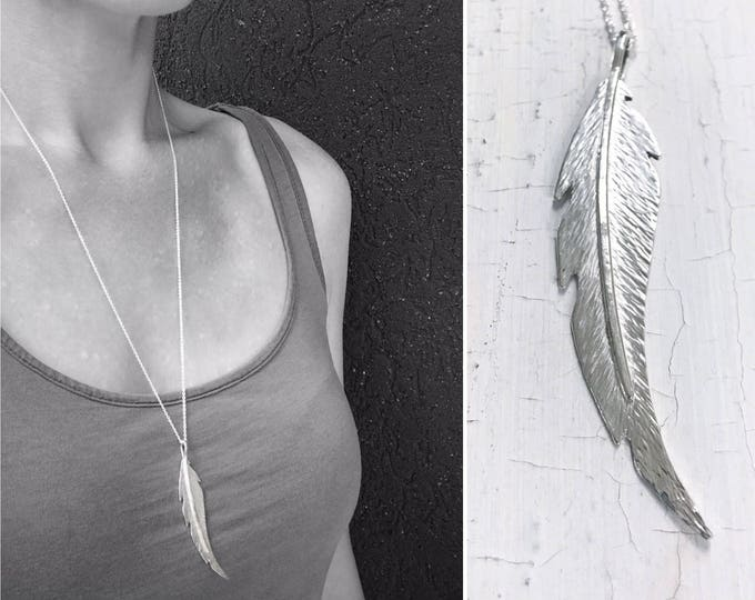 Sterling Silver Feather Necklace - Long Curved Feather - Hand Forged Unique Feather - Solid Sterling Silver