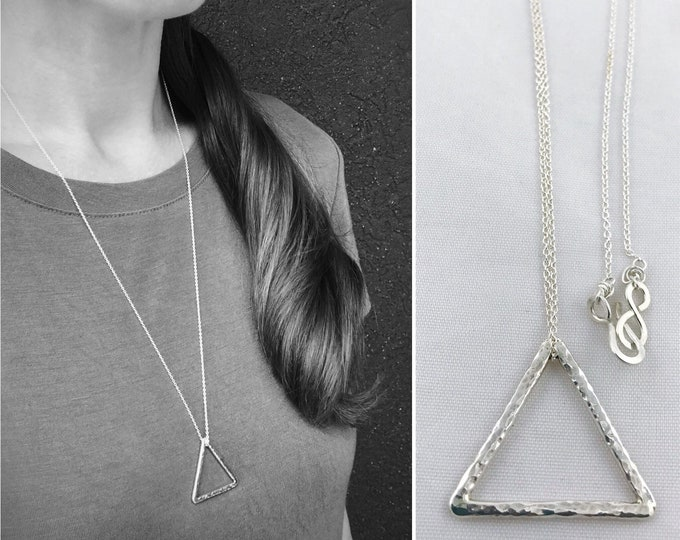Sterling Silver Free Floating Triangle Necklace - Rustic Minimalist - Hammer Formed Textured Triangle - Long Chain - Choose Your Chain Color