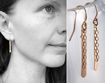 14k Rose Gold Filled Shimmer Earrings - Simple Minimalist Bar Earrings - Hammer Formed - Subtle Hammered Texture