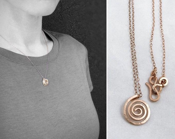 Rose Gold Spiral Necklace - 14k Rose Gold Filled - Small Koru Spiral -  Hammer Formed - Subtle Hammered Texture - Rustic - Minimalist