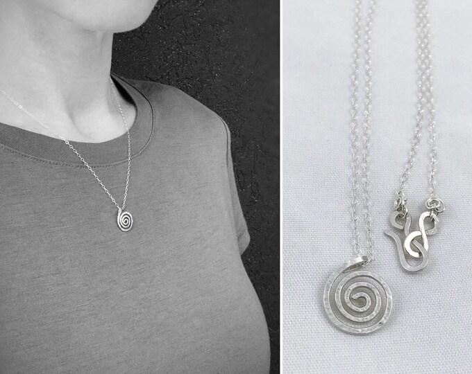 Silver Spiral Necklace - Solid Sterling Silver - Small Koru Spiral -  Hammer Formed - Subtle Hammered Texture - Rustic - Minimalist