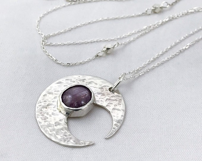 Hammered Silver Ruby Moon Crescent Necklace - Solid Sterling Silver - Genuine Mysore Star Ruby - Rustic Hammer Forged - Adjustable Length