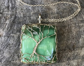 "Tree of Life Necklace - Sterling Silver - Square Cut Green Variscite Stone - ""Moss Garden"""