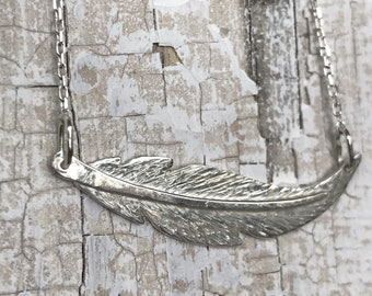Sterling Silver Feather Necklace - Small Horizontal Curved Feather - Hand Forged Unique Feather - Solid Sterling Silver