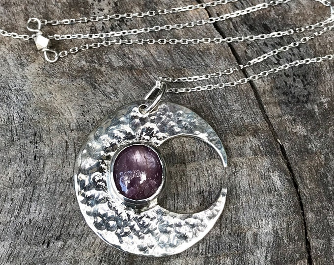 Featured listing image: Sterling Silver Ruby Moon Crescent Necklace - Solid Sterling Silver - Genuine Mysore Star Ruby - Rustic Hammer Forged - Adjustable Length