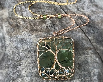 "Double Tree Of Life Pendant Necklace - Two Tone 14k Yellow Gold Filled/14k Rose Gold Filled - Green Prehnite - Faceted Peridot - ""Entwined"""