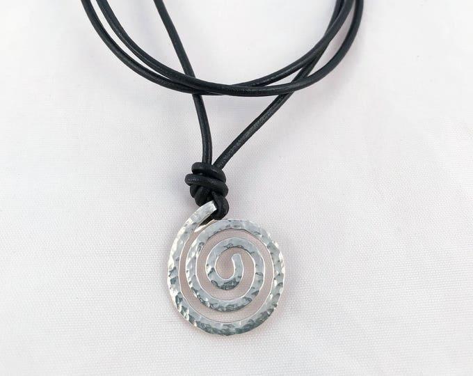 Men's Sterling Silver Spiral Necklace - Large Koru Spiral -  Hammer Formed - Hammered Texture - Adjustable Leather Cord