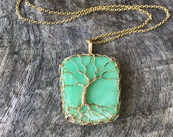 "Tree Of Life Pendant Necklace - 14k Yellow Gold Filled - Seafoam Green Chrysoprase - Square Cut - ""Verdant Meadow"""